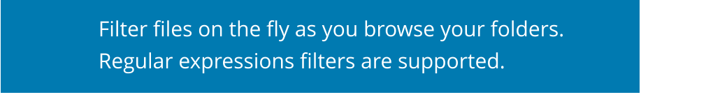 Filter files on the fly as you browse your folders.   Regular expressions filters are supported.
